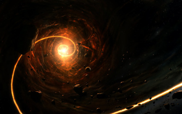 обоя космос, арт, астероиды, спираль, пространство, свет