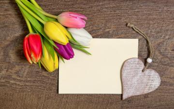 обоя праздничные, день святого валентина,  сердечки,  любовь, букет, сердце, с, праздником, романтика, tulips, romantic, тюльпаны, wood, colorful, love, heart