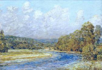 Картинка river+landscape рисованное frederick+childe+hassam деревья берега река облака небо