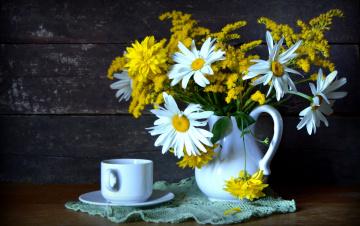 Картинка цветы букеты +композиции букет ромашки рудбекия чашка