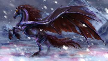 обоя фэнтези, существа, фантастика, демон, арт, крылья, конь