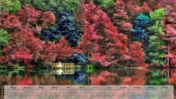 обоя календари, природа, деревья, водоем