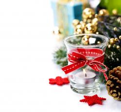 Картинка праздничные новогодние свечи лента свеча подсвечник бант