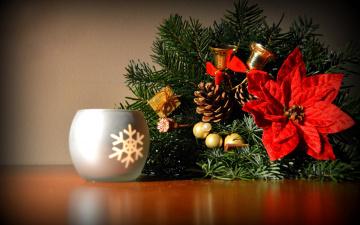 обоя праздничные, - разное , новый год, ветка, колокольчики, шишка, пуансеттия