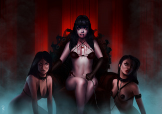 Картинка фэнтези вампиры кровь лицо девушки цень взгляд клыки сидит вампирша трон фантастика арт