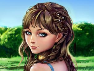 обоя рисованное, люди, арт, волосы, портрет, взгляд, лицо, прическа, девушка, глаза, лес