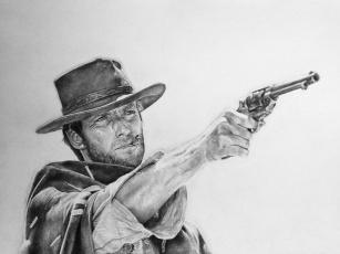 обоя clint eastwood, рисованное, кино, мужчина, револьвер, фон, взгляд