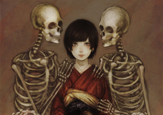 обоя аниме, unknown,  другое, девушка, смерть, скелеты
