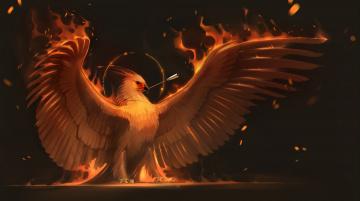 Картинка рисованное животные +сказочные +мифические феникс птица крылья phoenix стрела арт огонь