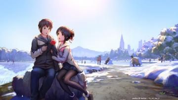 обоя аниме, kimi no na wa, фон, взгляд, девушка