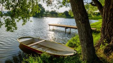 обоя корабли, лодки,  шлюпки, лес, река