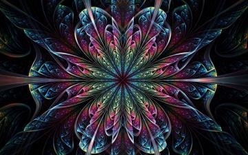 обоя 3д графика, фракталы , fractal, цветок, симметрия