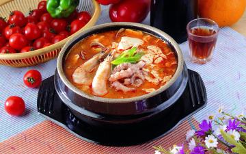 обоя еда, первые блюда, рыбный, суп, креветки, помидоры, черри