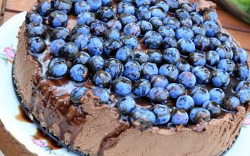обоя еда, пироги, шоколадный, пирог, ягоды, черника