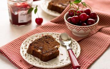 обоя еда, пироги, вишни, ломтик, пирог, джем