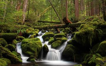 обоя природа, водопады, камни, поток