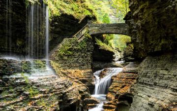 обоя природа, водопады, мостик, ступени, поток