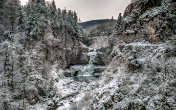 обоя природа, водопады, зима, иней