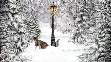 Картинка рисованное животные +рыси снег парк фонарь взгляд рысь дорога зима