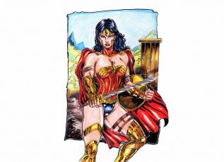 обоя рисованное, комиксы, девушка, фон, взгляд, униформа, оружие