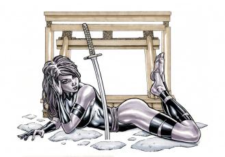 обоя рисованное, комиксы, девушка, фон, взгляд, униформа, меч