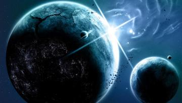 обоя космос, арт, планета, галактика, звезды, вселенная