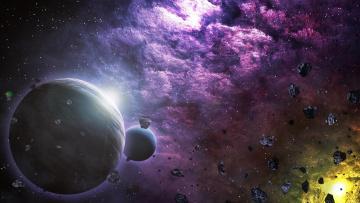обоя космос, арт, вселенная, планета, галактика, звезды