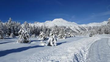 обоя природа, зима, горы, снег