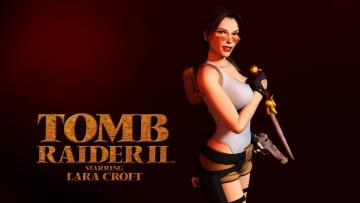 обоя видео игры, tomb raider , other, девушка, фон, взгляд, очки, оружие