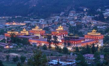 обоя тхимпху,  бутан, города, - буддийские и другие храмы, здания, комплекс, огни, панорама