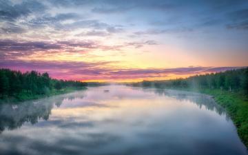 обоя природа, реки, озера, река, лес, закат, облака