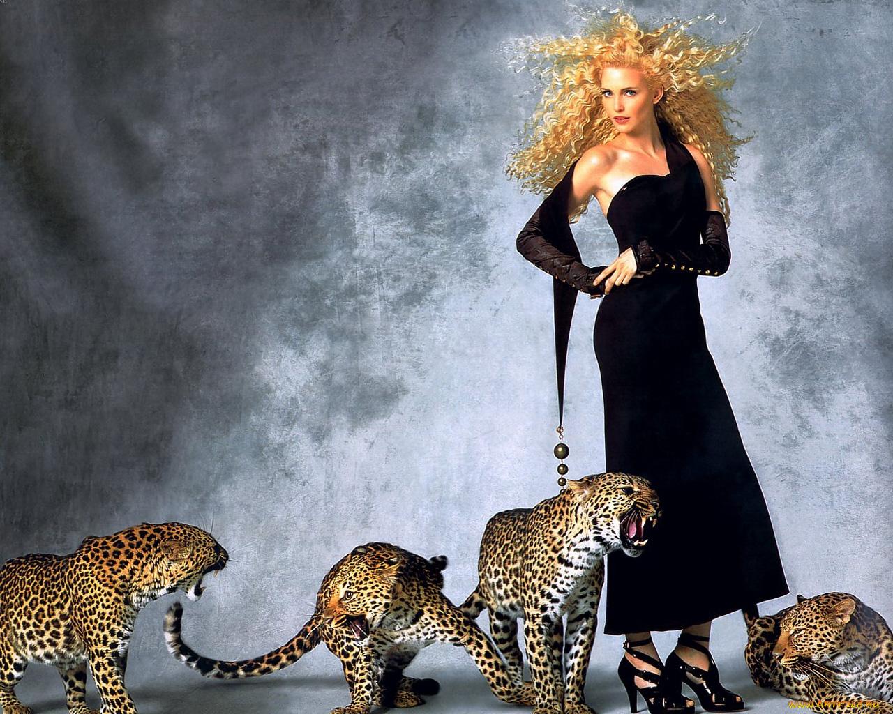девушка с леопардом бесплатно