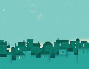 обоя векторная графика, город , city, город, дома, фон