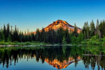 обоя природа, реки, озера, сосновый, лес, и, гора, отражаются, в, воде, йосемитский, национальный, парк, калифорния