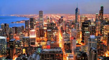 обоя города, - огни ночного города, город, дома, здания, улица, панорама, огни, море