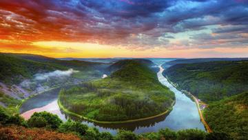 обоя природа, реки, озера, река, холмы