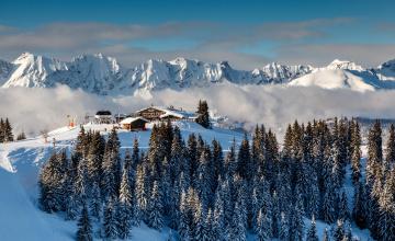 обоя города, - пейзажи, горы, снег, зима, деревья, коттедж