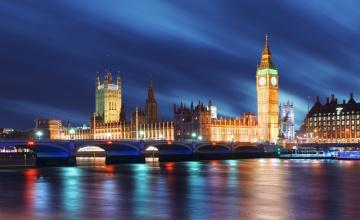 обоя города, лондон , великобритания, вечер, огни, река, мост, темза, биг, бен