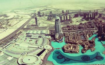 обоя города, абу-даби , оаэ, город, панорама, дома, здания, дороги