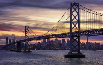 обоя san francisco and the bay bridge, города, сан-франциско , сша, мост