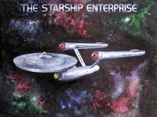 обоя the, starship, enterprise, рисованные, другое