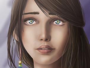 Картинка рисованные люди крупный план волосы губы лицо взгляд девушка зеленые глаза
