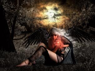 обоя фэнтези, фотоарт, девушка, взгляд, фон, крылья