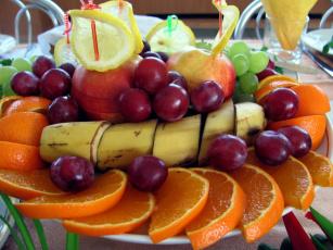 обоя еда, фрукты,  ягоды, виноград, апельсин, яблоки, лимон