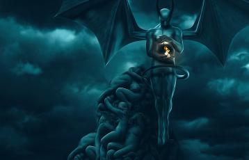 обоя фэнтези, демоны, рога, крылья, существо, огонь, фон
