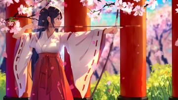 Картинка аниме оружие +техника +технологии фон взгляд девушка
