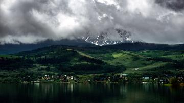 Картинка города -+пейзажи река горы тучи