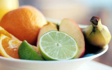 обоя еда, фрукты,  ягоды, лайм, апельсин, банан, яблоко