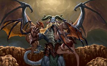 обоя фэнтези, демоны, фон, крылья, существо, девушки