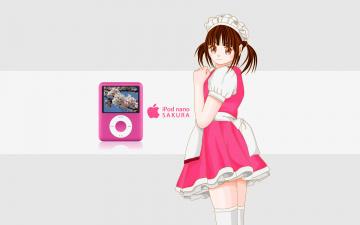 обоя компьютеры, apple, логотип, фон, девушка, взгляд